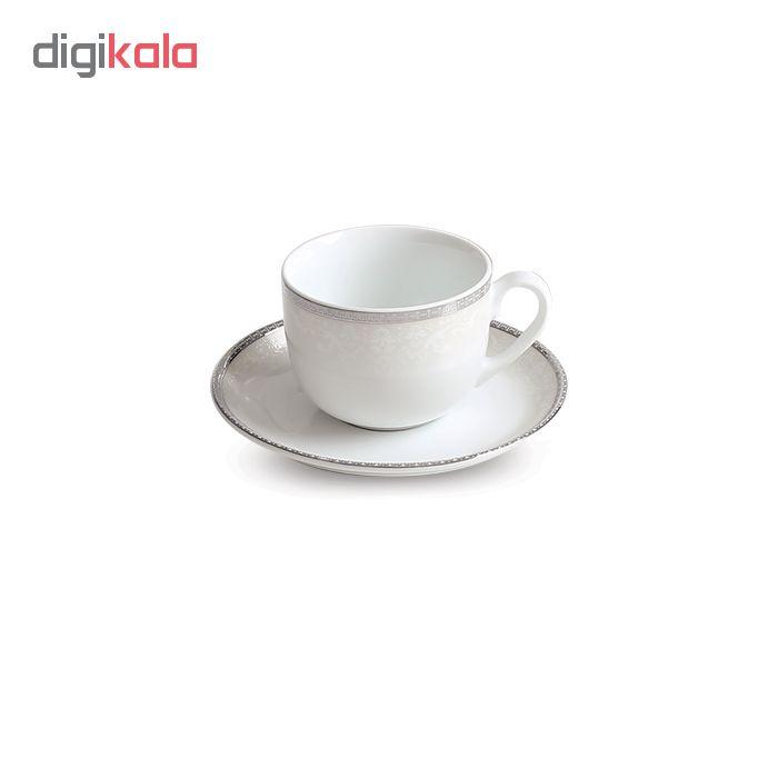 سرویس چای خوری 12 پارچه چینی زرین ایران سری ایتالیا اف مدل ریوا پلاتینی