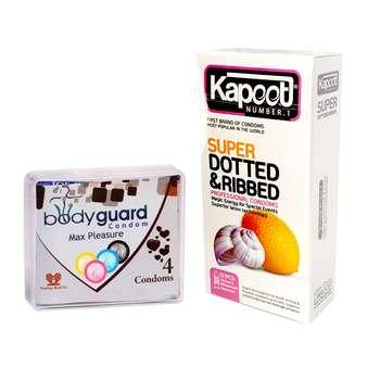 کاندوم کاپوت مدل Super Dotted بسته 12 عددی به همراه کاندوم بادیگارد مدل Max Pleasure بسته 4 عددی