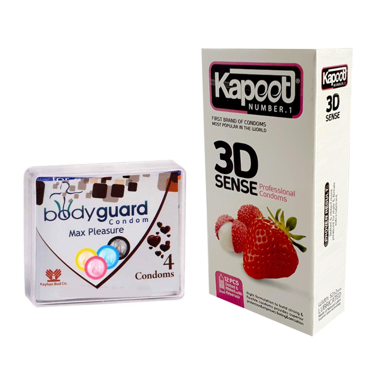 قیمت کاندوم کاپوت مدل 3D بسته 12 عددی به همراه کاندوم بادیگارد مدل Max Pleasure بسته 4 عددی