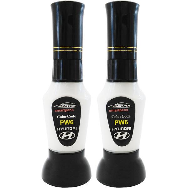 قلم خشگیر بدنه خودرو اسمارت پن رنگ سفید صدفی سانتافه هیوندای کد PW6 حجم 15 میلی لیتر به همراه رنگ صدف مجموعه 2 عددی