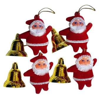 آویز درخت کریسمس طرح بابانوئل و زنگ بسته 8 عددی