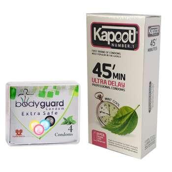 کاندوم کاپوت مدل 45Minutes بسته 12 عددی به همراه کاندوم بادیگارد مدل Extra Safe بسته 4 عددی