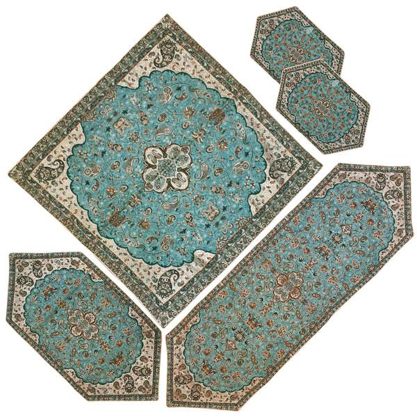 رومیزی ترمه طرح شاه عباسی مدل SBZABI5/5 مجموعه 5 عددی