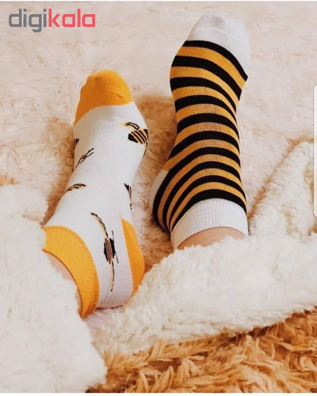 جوراب دخترانه طرح زنبور مدل bee34