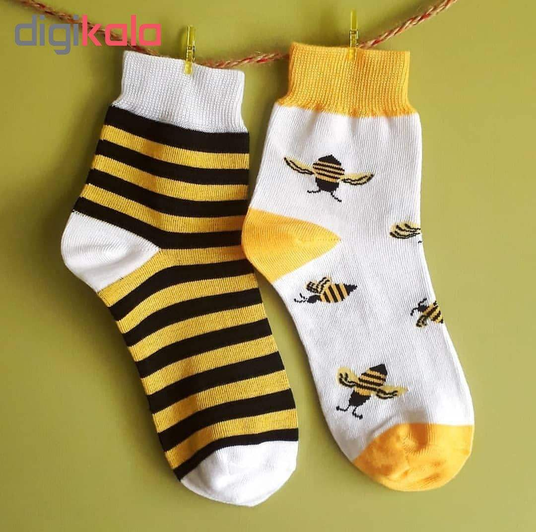 جوراب دخترانه طرح زنبور مدل bee34 main 1 3
