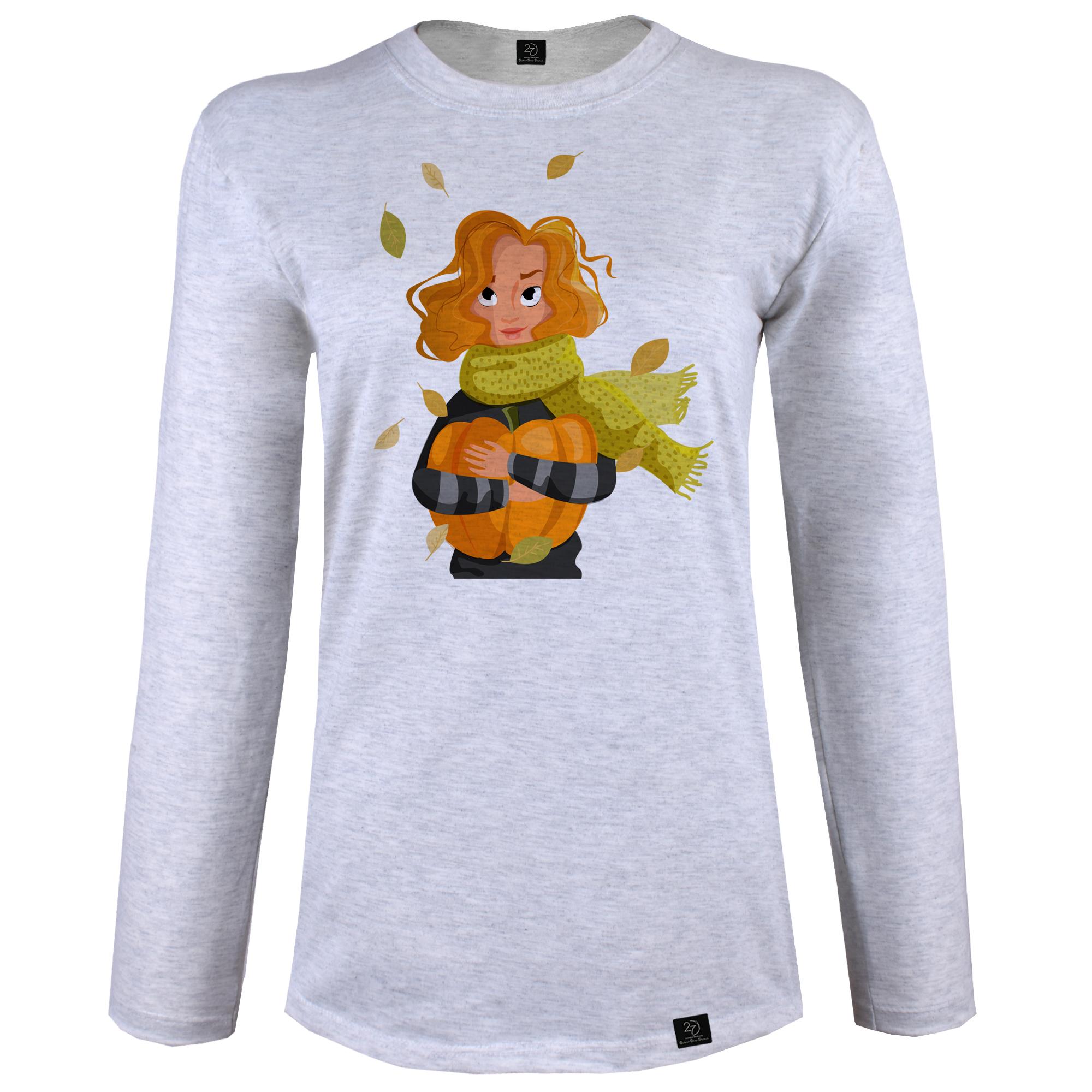 تی شرت  آستین بلند زنانه 27 طرح دختر پاییزی کد J05 رنگ طوسی روشن