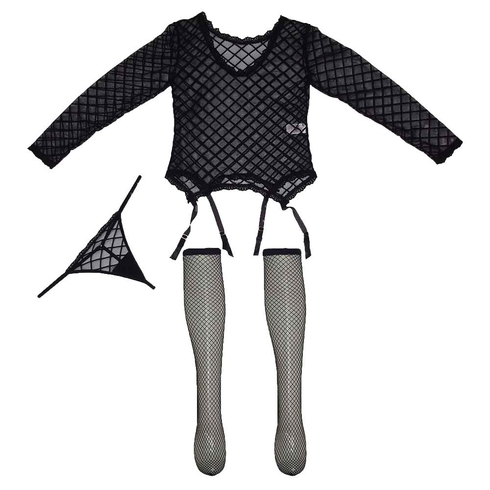 لباس خواب بند جوراب دار سه تکه زنانه کد L1