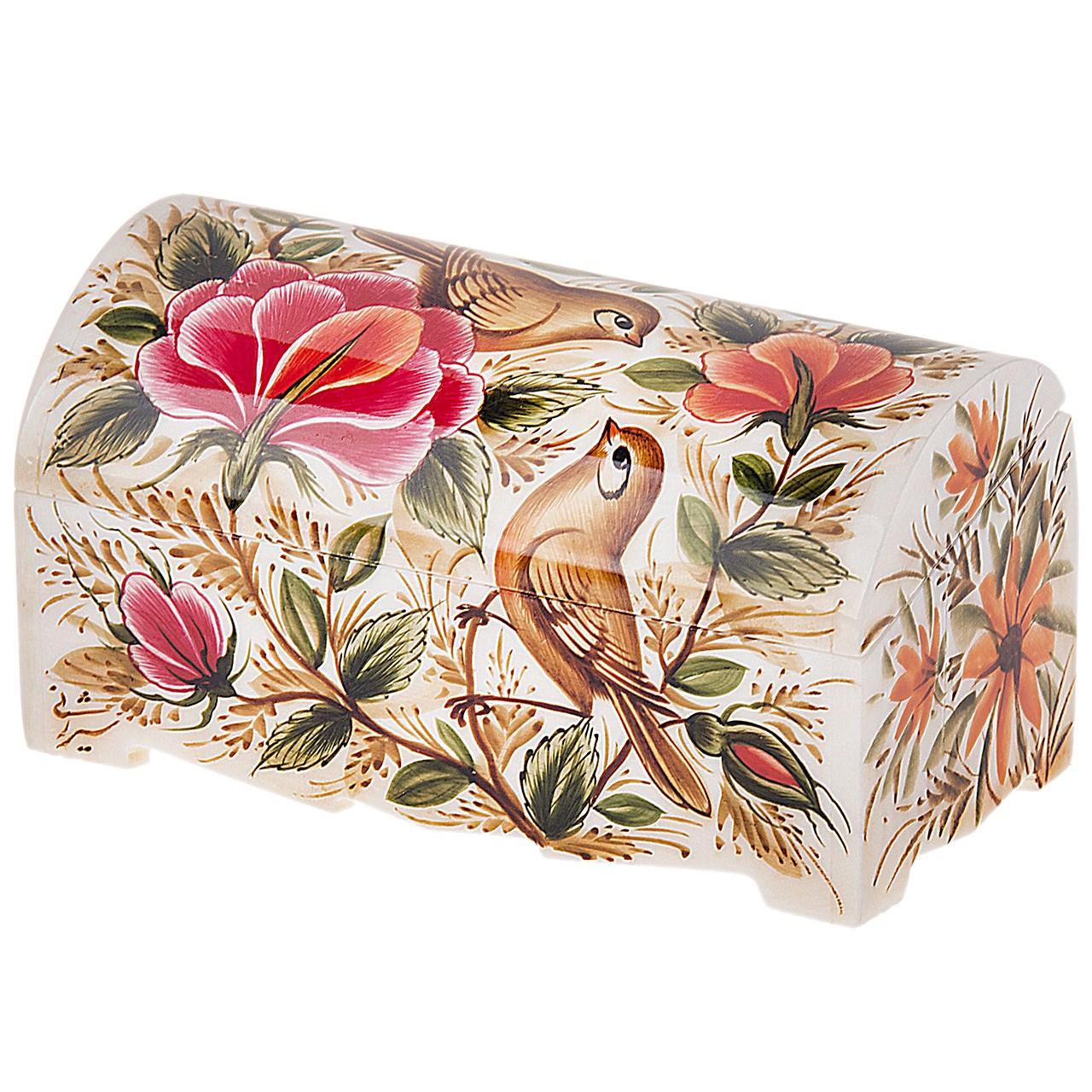 جعبه استخوانی طرح گل و مرغ 5