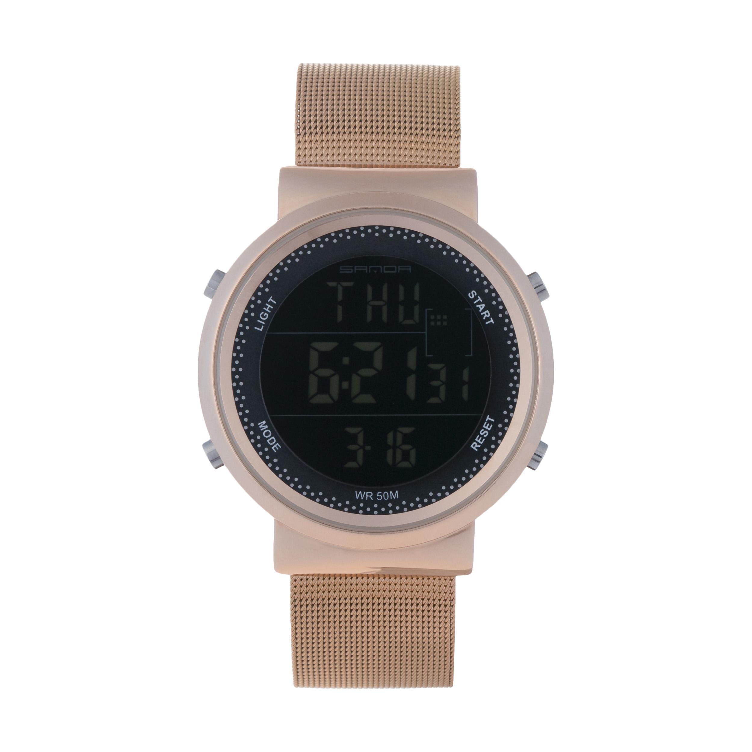 ساعت مچی دیجیتال مردانه ساندا مدل CR2016-383-RO به همراه دستمال مخصوص نانو برند کلیر واچ 36