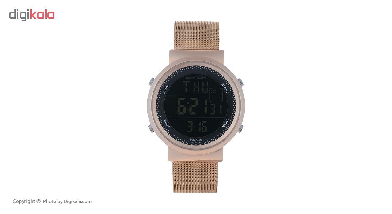 ساعت مچی دیجیتال مردانه ساندا مدل CR2016-383-RO به همراه دستمال مخصوص نانو برند کلیر واچ