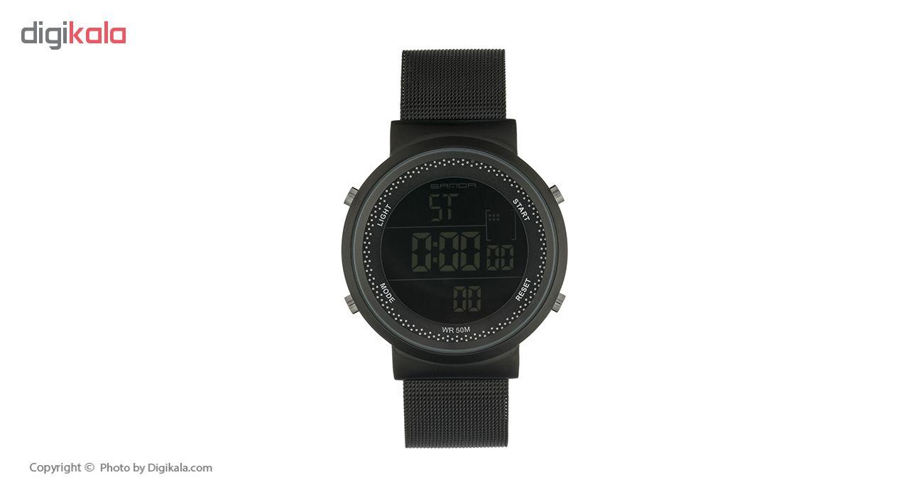 خرید ساعت مچی دیجیتال مردانه ساندا مدل CR2016-383-M به همراه دستمال مخصوص نانو برند کلیر واچ