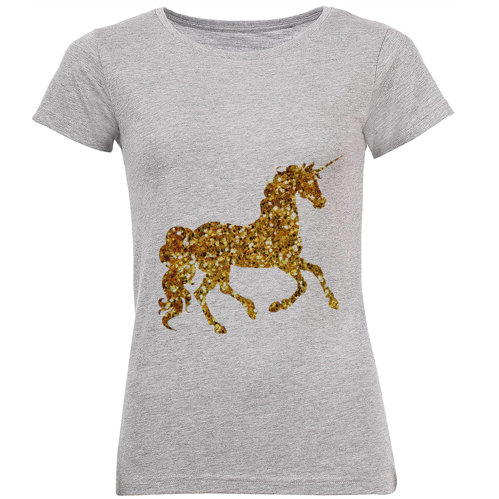تی شرت زنانه طرح تک شاخ طلایی کد B153