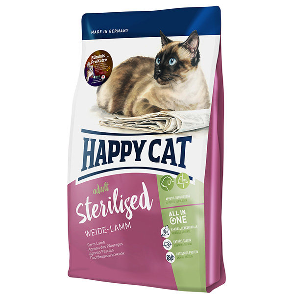 غذای خشک گربه عقیم شده  هپی کت حاوی گوشت بره مدل Sterilised وزن 1400 گرم