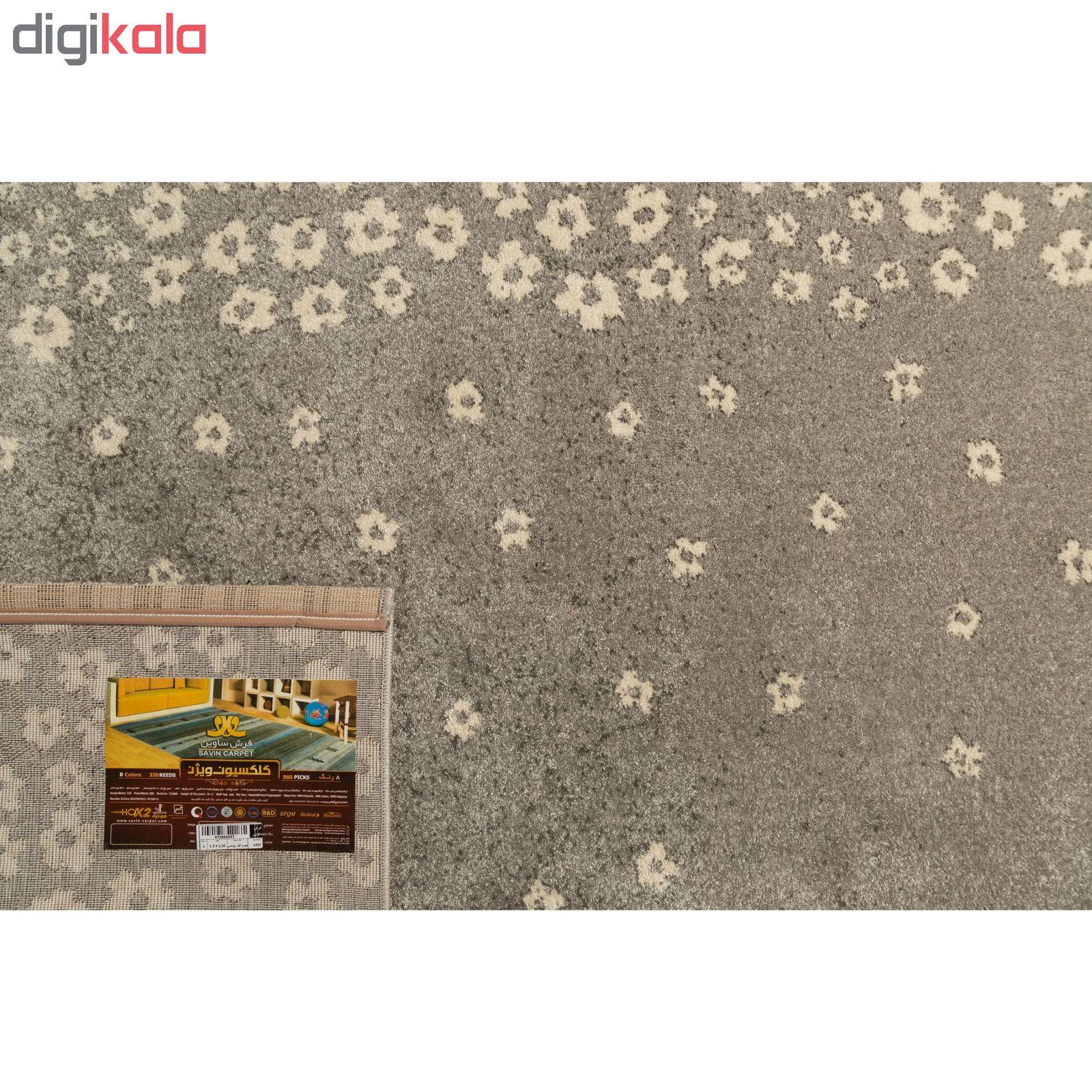 فرش ماشینی ساوین طرح ۴۰۰۷ زمینه نقره ای روشن main 1 3