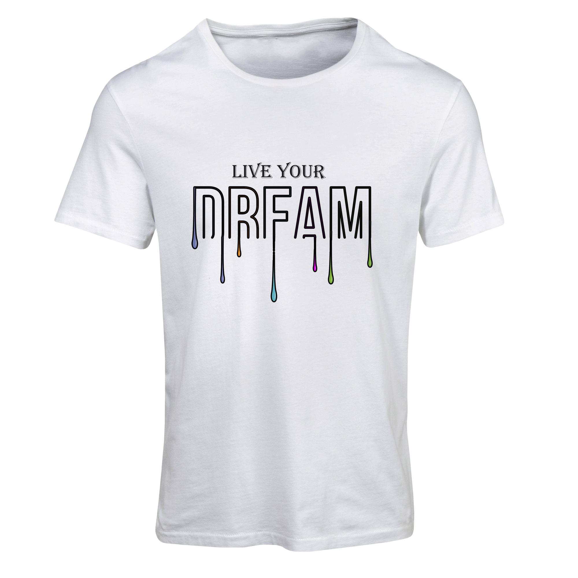 خرید تیشرت آستین کوتاه مردانه طرح دریم کد SW213 رنگ سفید