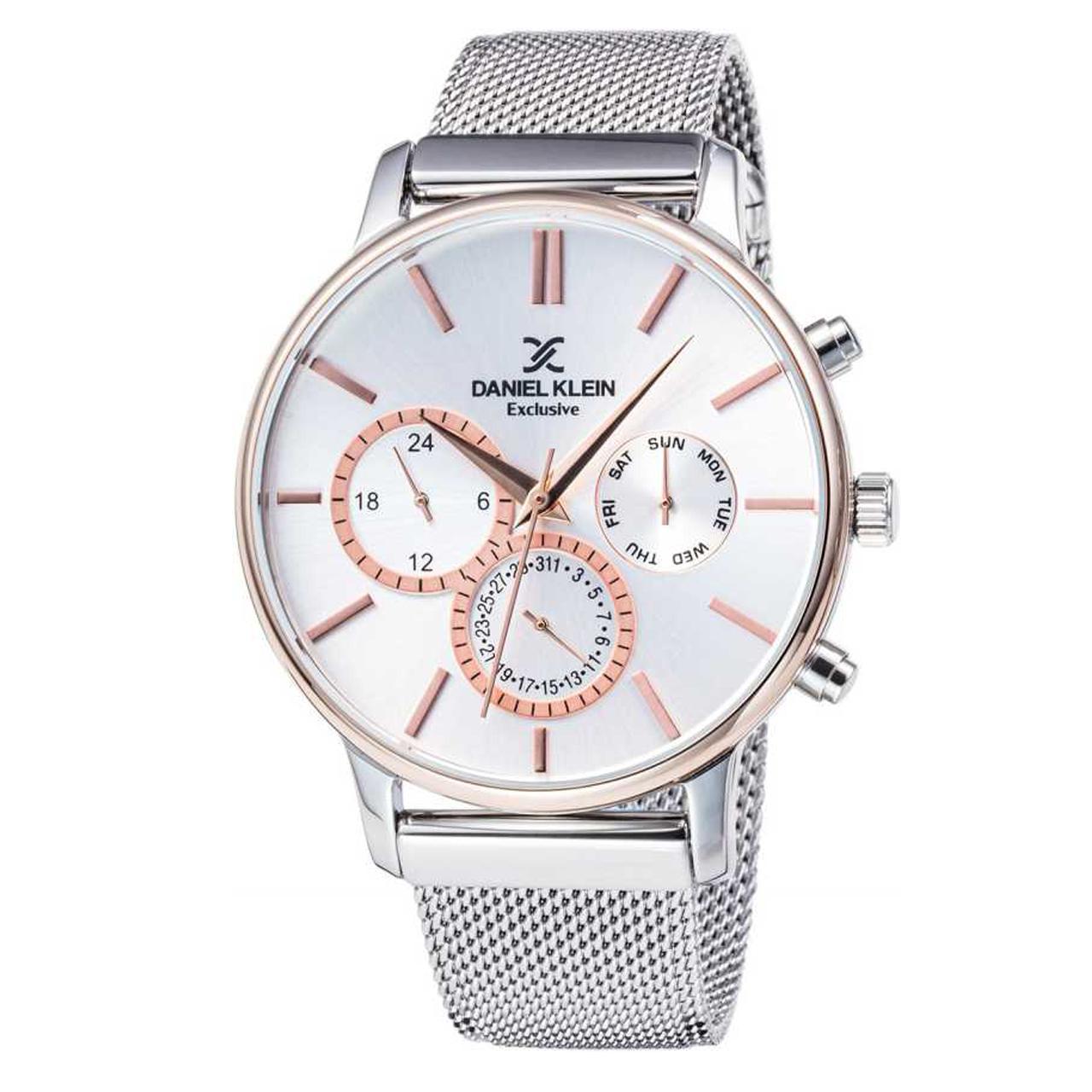 ساعت مچی عقربه ای مردانه دنیل کلین مدل DK11857-5 به همراه دستمال مخصوص برند کلین واچ