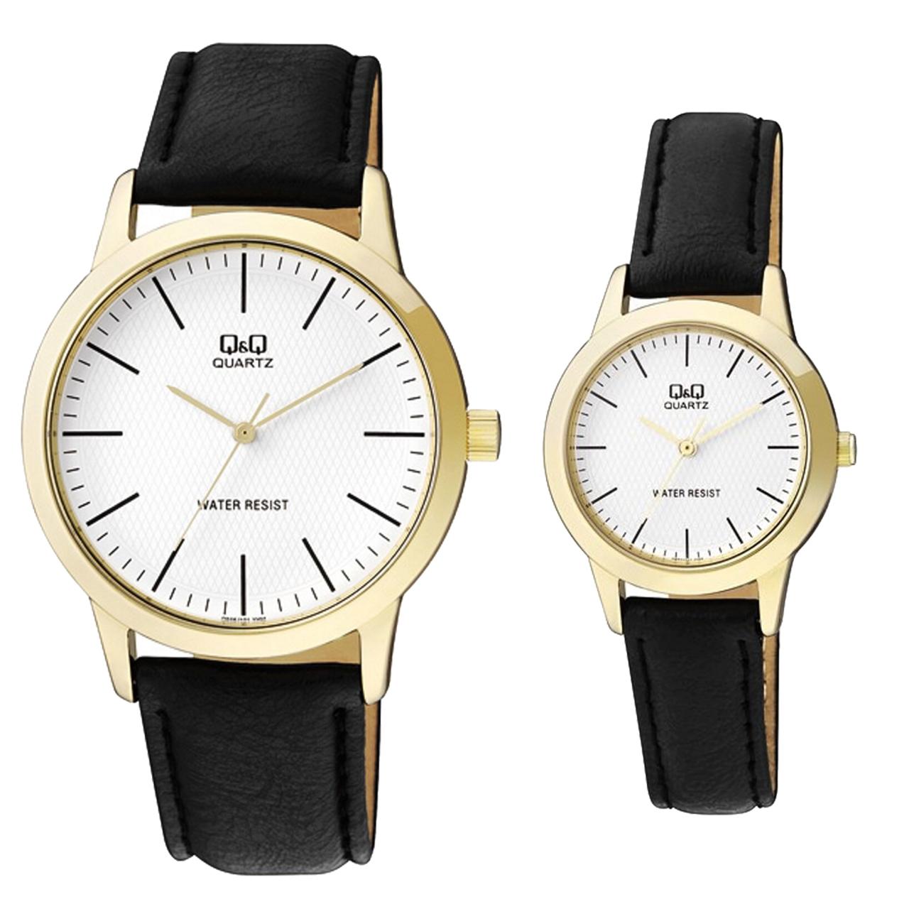 خرید ست ساعت مچی عقربه ای مردانه زنانه کیو اند کیو مدل Q946J101Yبه همراه دستمال مخصوص برند کلین واچ
