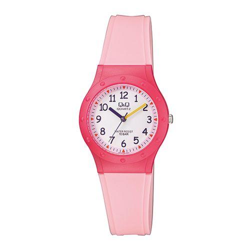 ساعت مچی عقربه ای دخترانه کیو اند کیو مدل vr75j004y به همراه دستمال مخصوص برند کلین واچ