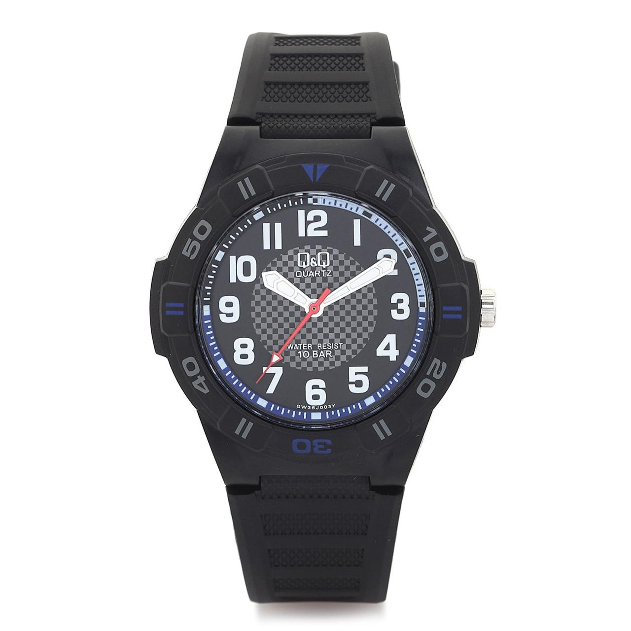 ساعت مچی عقربه ای مردانه کیو اند کیو مدل gw36j003y به همراه دستمال مخصوص برند کلین واچ