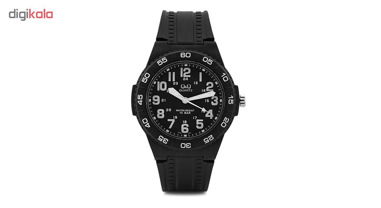 خرید ساعت مچی عقربه ای مردانه کیو اند کیو مدل gt44j011y به همراه دستمال مخصوص برند کلین واچ