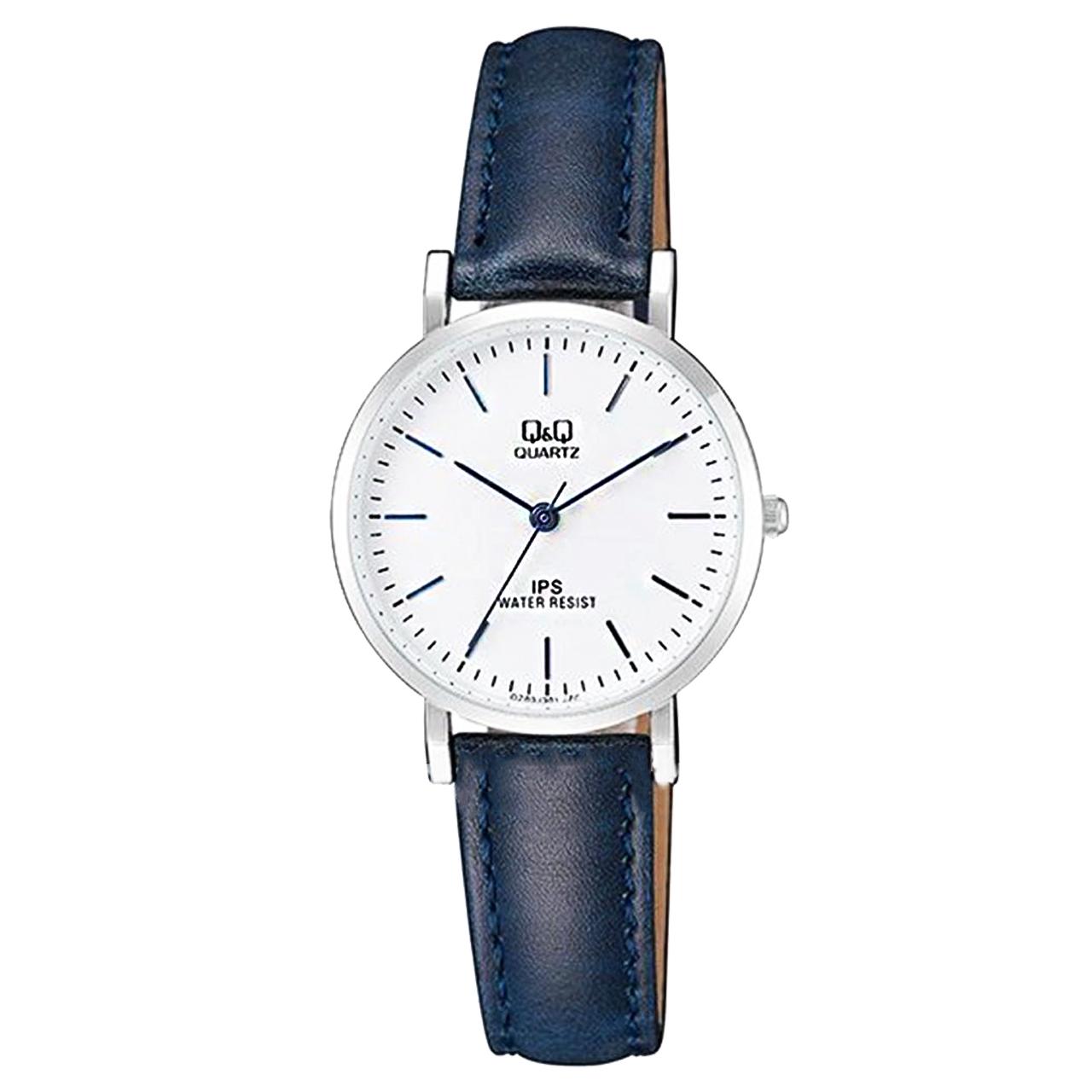 ساعت زنانه برند کیو اند کیو مدل qz03j301y به همراه دستمال مخصوص برند کلین واچ