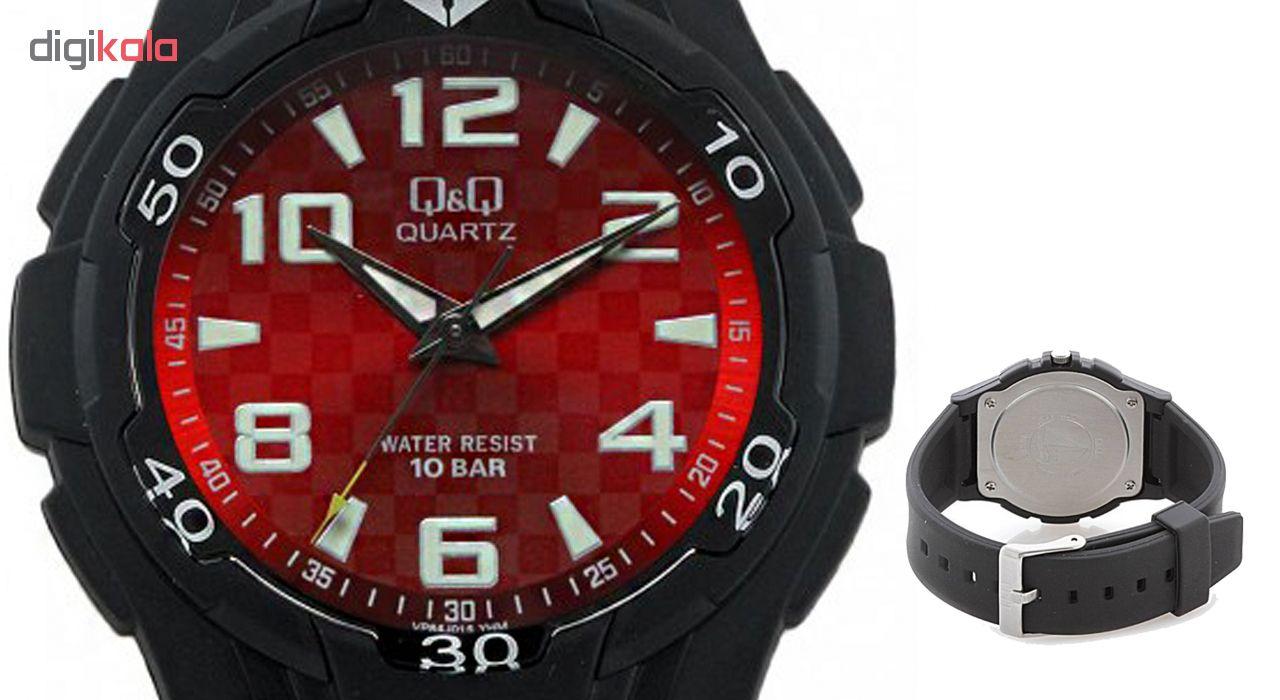 ساعت مچی عقربه ای مردانه کیو اند کیو مدل vp84j015y به همراه دستمال مخصوص برند کلین واچ