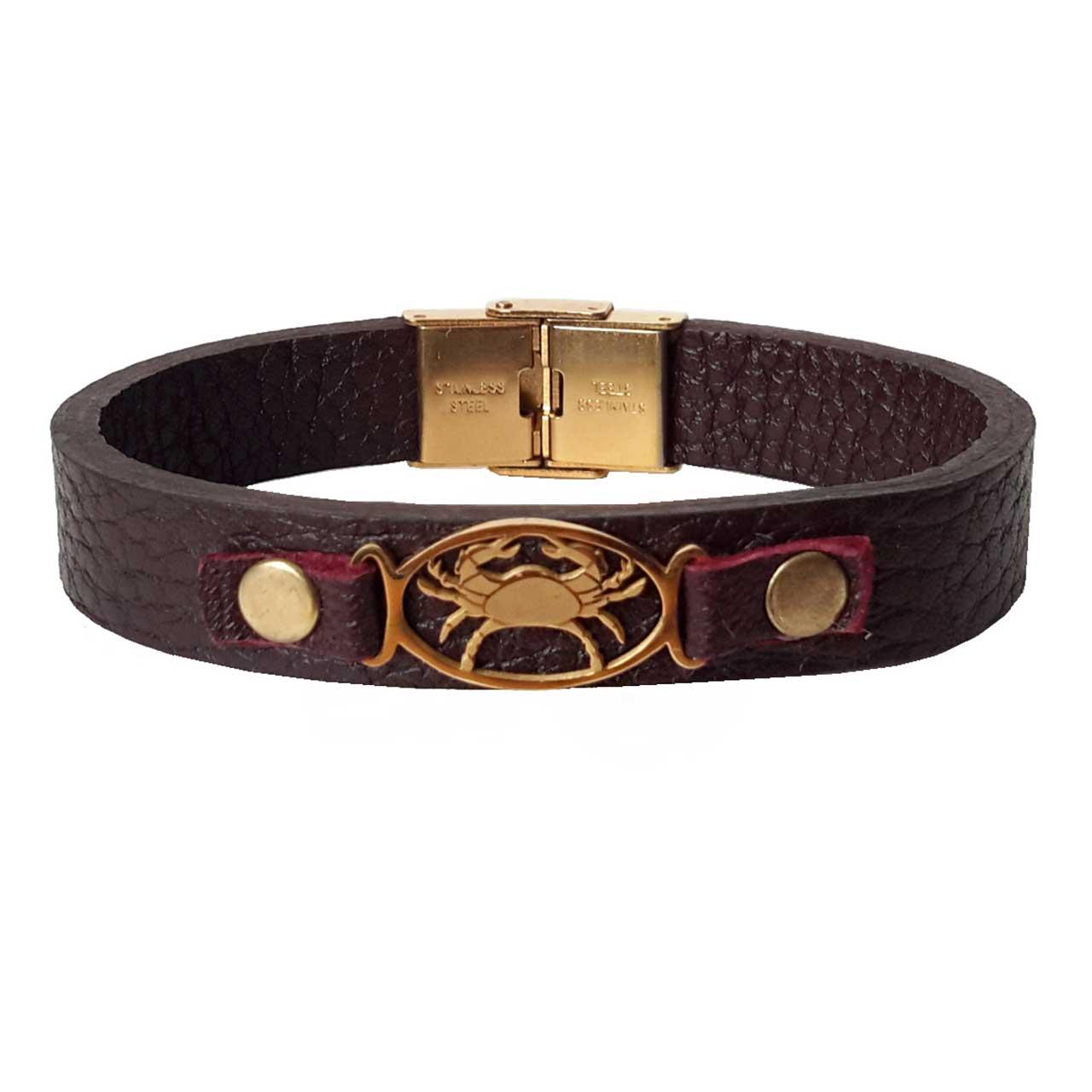 دستبند چرمی مان.ی چرم طرح ماه تولد تیر کد BL-174