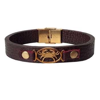 دستبند چرمی مان.ی چرم طرح ماه تولد تیر کد BL-174 تک سایز
