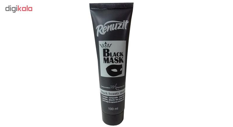 ماسک صورت رینوزیت مدل  Black mask carbon active حجم 100 میلی لیتر