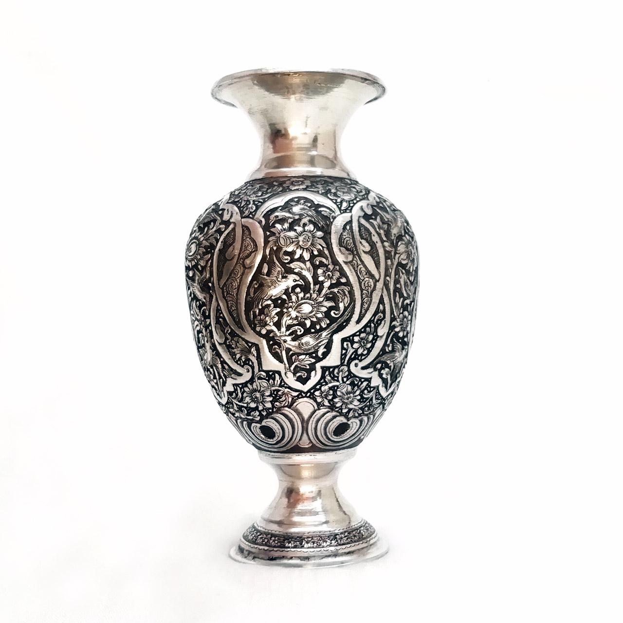گلدان قلمزنی مسی طرح آنتیک کد 55