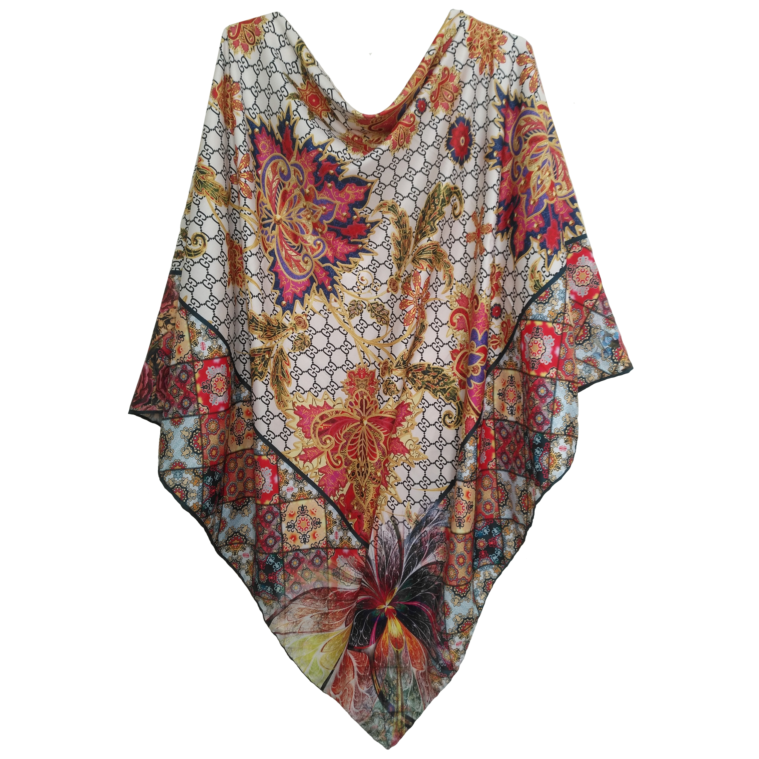 روسری ابریشم دست دوز زنانه طرح سورنا کد SH-01