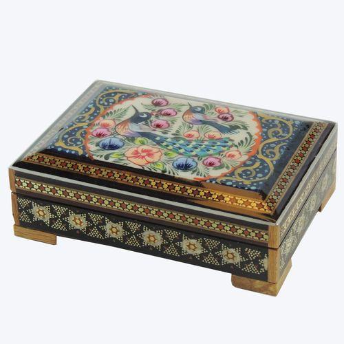 جعبه جواهر خاتم کاری طرح گل و مرغ مدل 1177