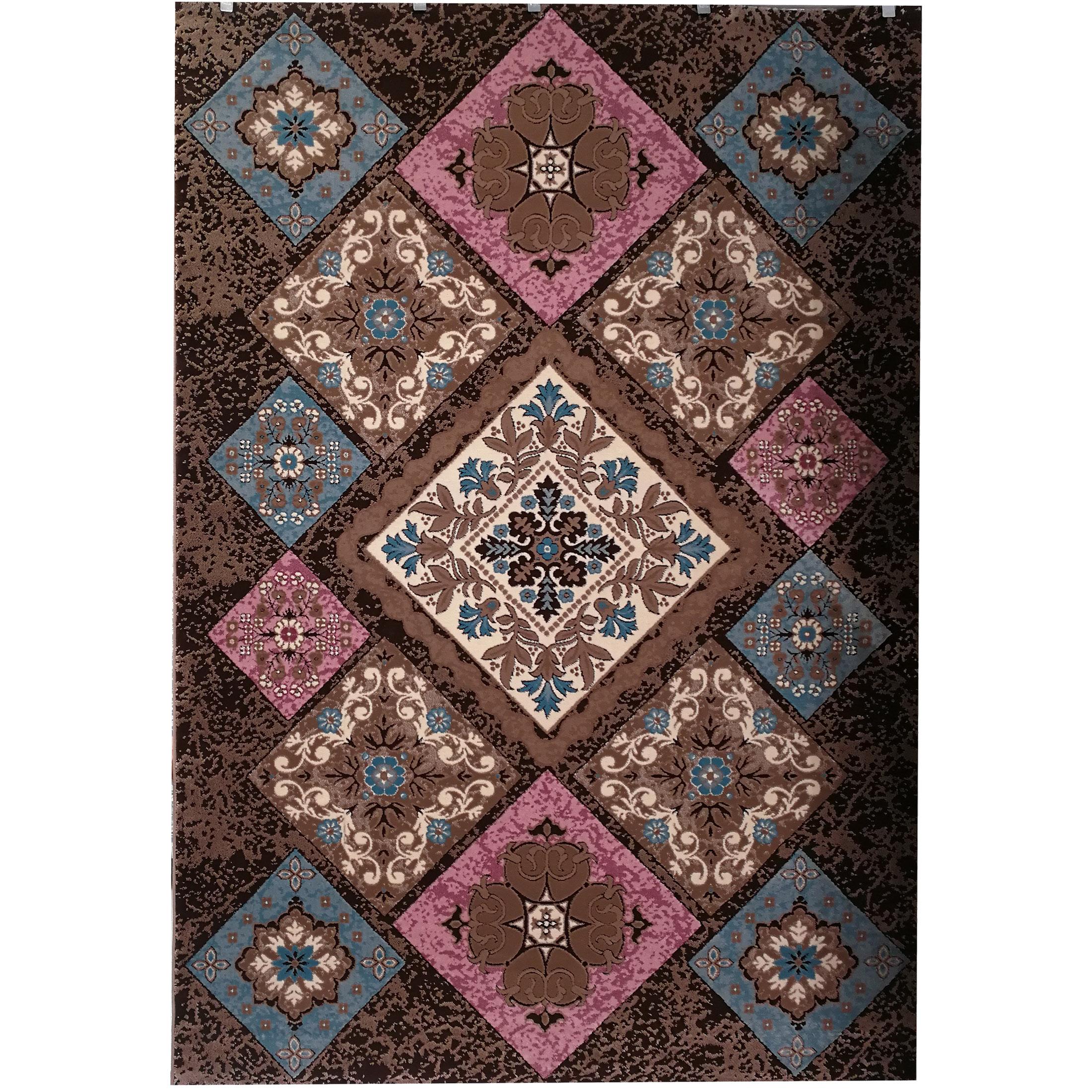 فرش ماشینی زمرد مشهد طرح P07 زمینه قهوه ای