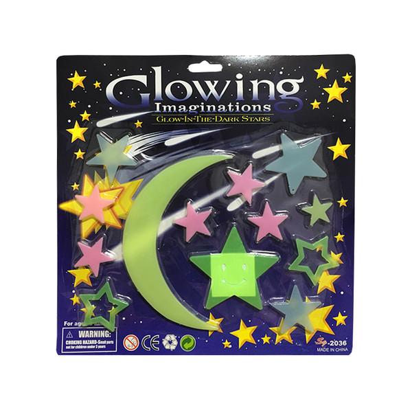 استیکر کودک طرح ماه و ستاره شب تاب مدل 005 مجموعه 12 عددی