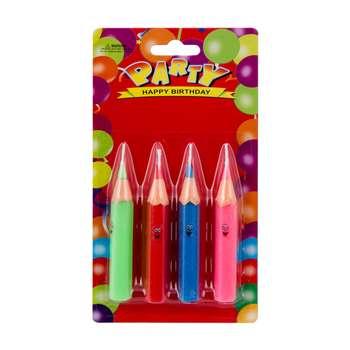 شمع تولد طرح مداد رنگی بسته 4 عددی