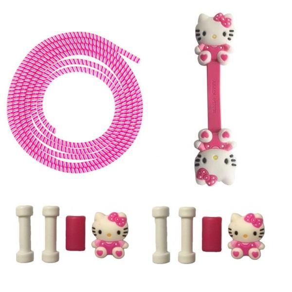 محافظ کابل طرح Kitty 01 مجموعه 3 عددی به همراه بست کابل هندزفری              ( قیمت و خرید)