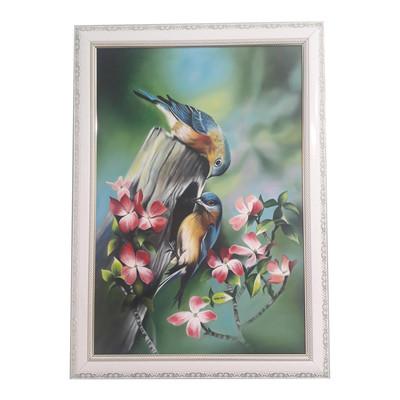 Photo of تابلو نقاشی رنگ روغن طرح پرندگان عشق کد SH1020
