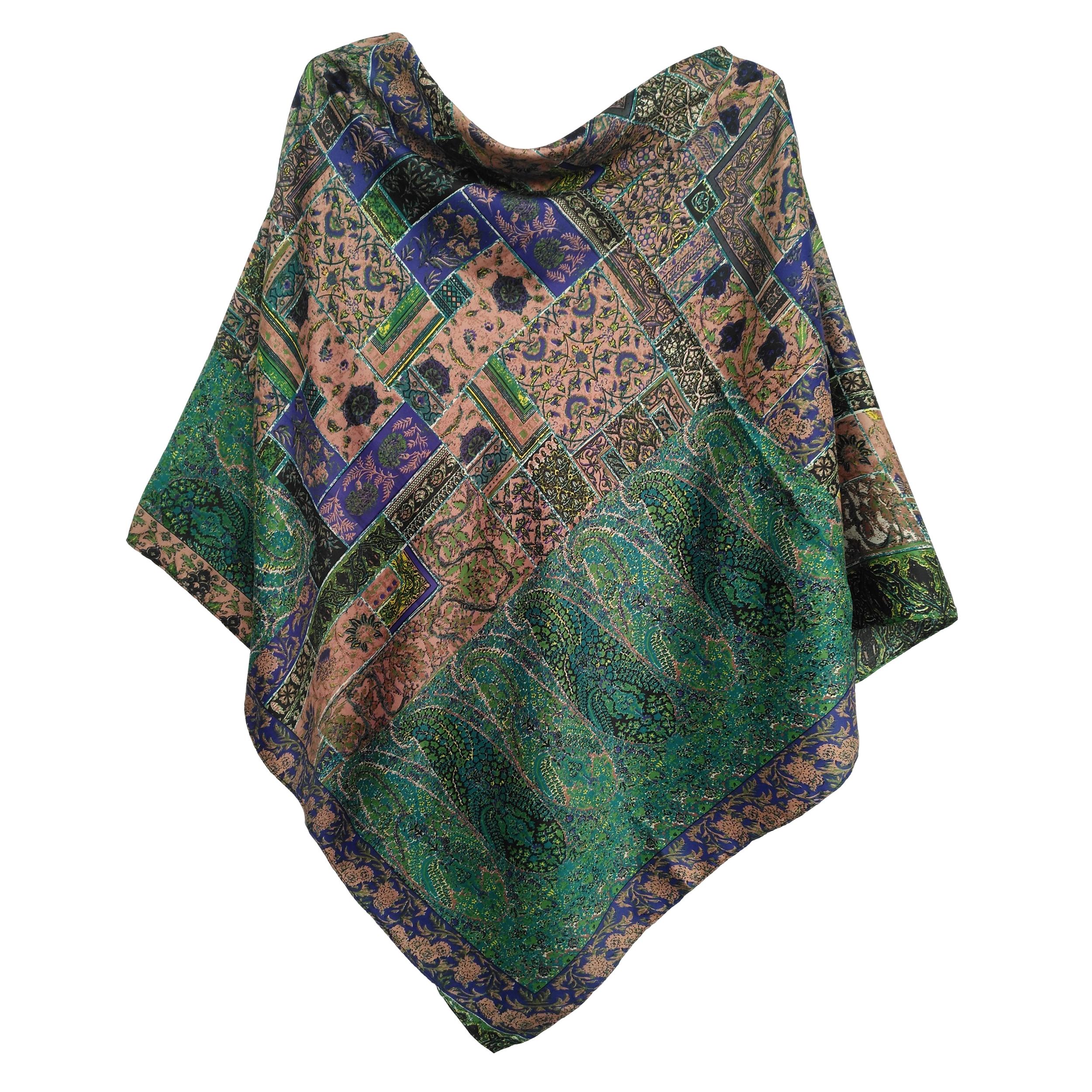 روسری ساتن حریر زنانه طرح کشمیری کد SH-07