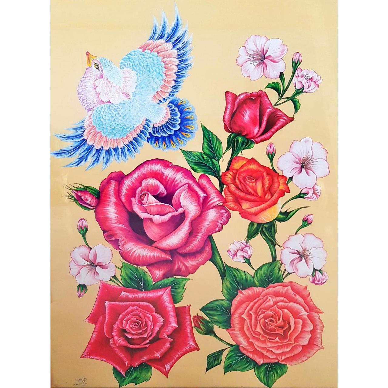 تابلو نقاشی آبرنگ طرح گل و مرغ