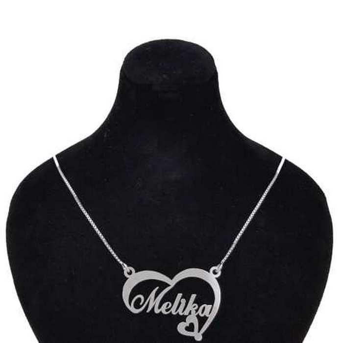 عکس گردنبند نقره زنانه طرح اسم ملیکا کد 02