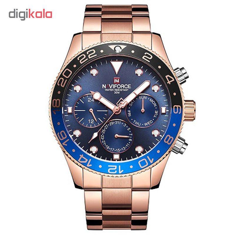 خرید ساعت مچی عقربه ای مردانه نیوی فورس مدل NF9147M / ROZ به همراه دستمال مخصوص نانو برند کلیر واچ