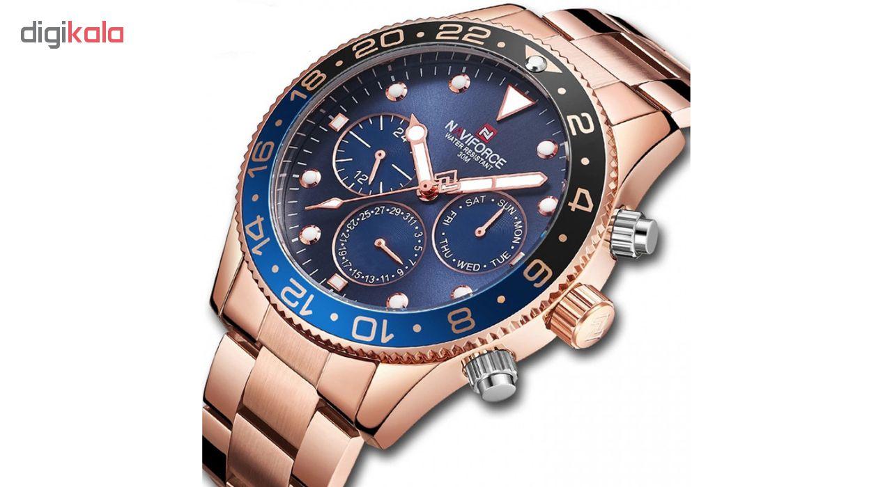 ساعت مچی عقربه ای مردانه نیوی فورس مدل NF9147M / ROZ به همراه دستمال مخصوص نانو برند کلیر واچ