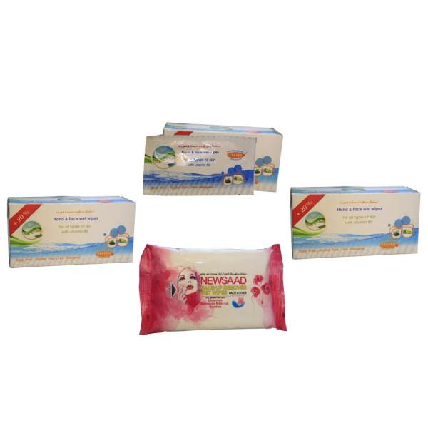 دستمال مرطوب  نیوساد بسته ۲۰ عددی به همراه دستمال مرطوب سافت و کلین مدل ساشه ای مجموعه 3 بسته ای (36عدد)