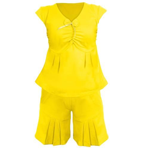 ست تاپ و شلوارک زنانه مدل B005 رنگ زرد