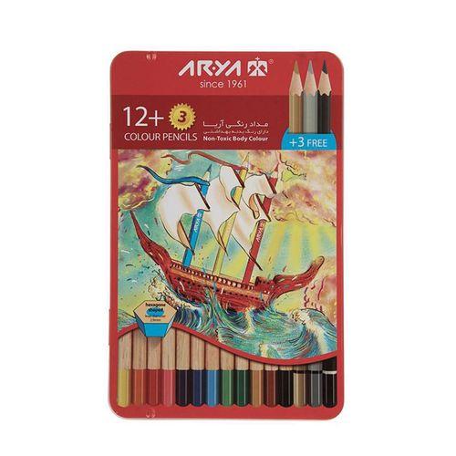مداد رنگی 15 رنگ آریا مدل3021 طرح کشتی