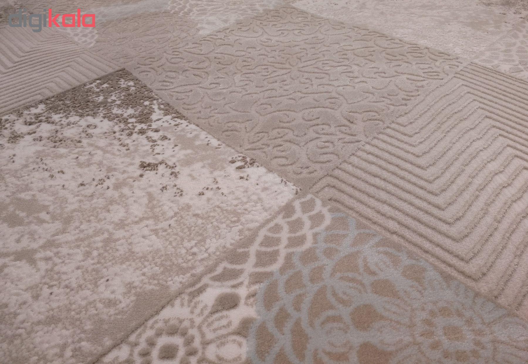 فرش ماشینی زمرد مشهد طرح HA01 زمینه بژ آبی