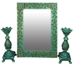 ست آینه و شمعدان دست نگار کد 03-20 مجموعه سه عددی