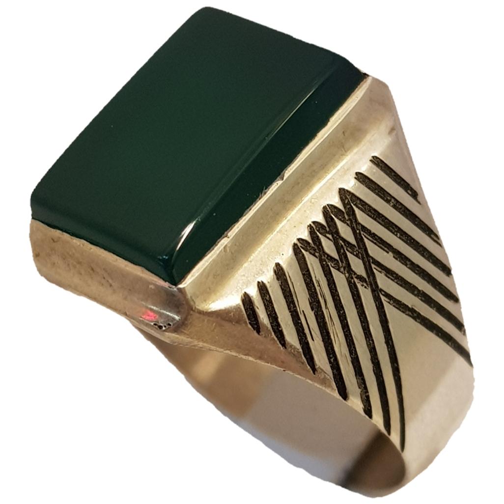 انگشتر نقره مردانه مدل عقیق سبز کد ۲۶۳۵