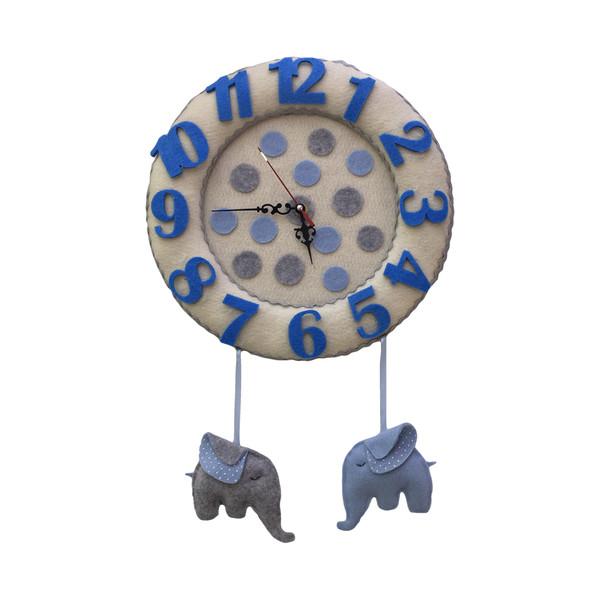 ساعت دیواری اتاق کودک طرح فیل