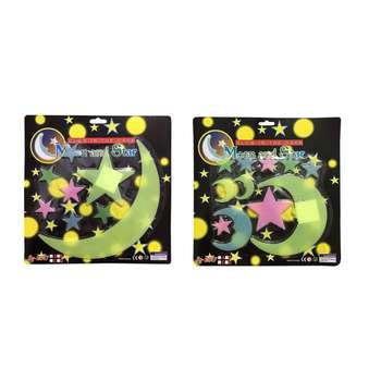 استیکر کودک طرح ماه و ستاره شب تاب مدل 011 مجموعه 24 عددی